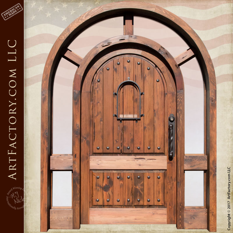 arched wood glass door