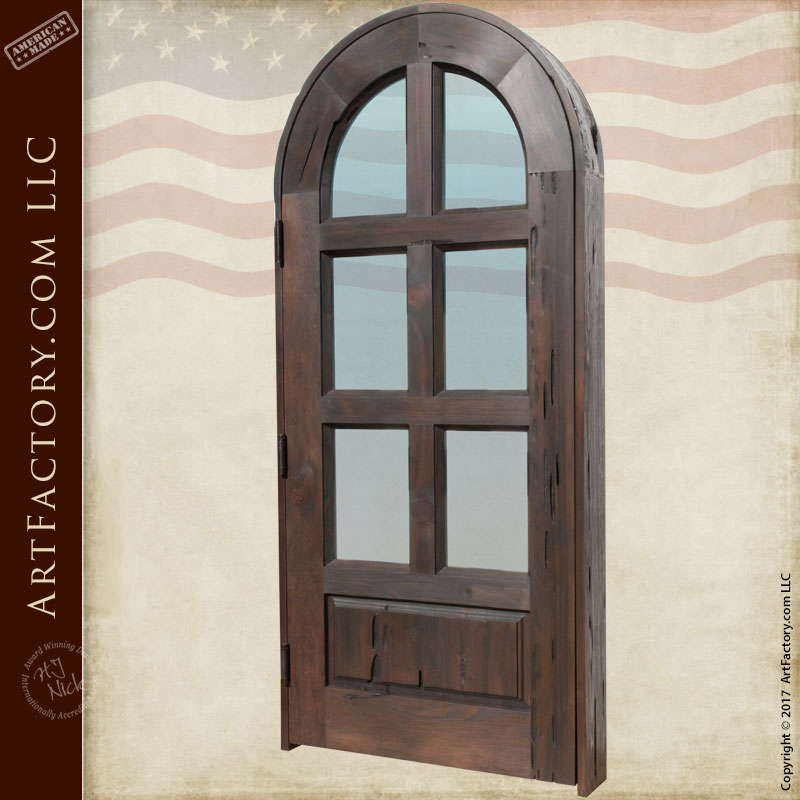 arched glass panel door