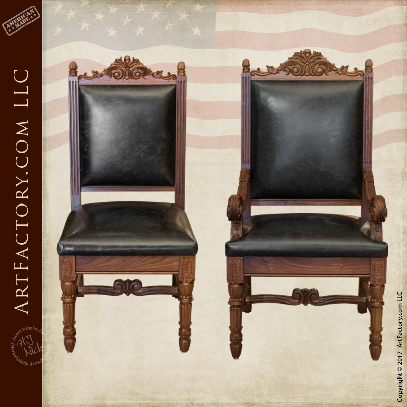 Hand Carved Walnut Dining Chairs Hand Carved Walnut Dining Chairs
