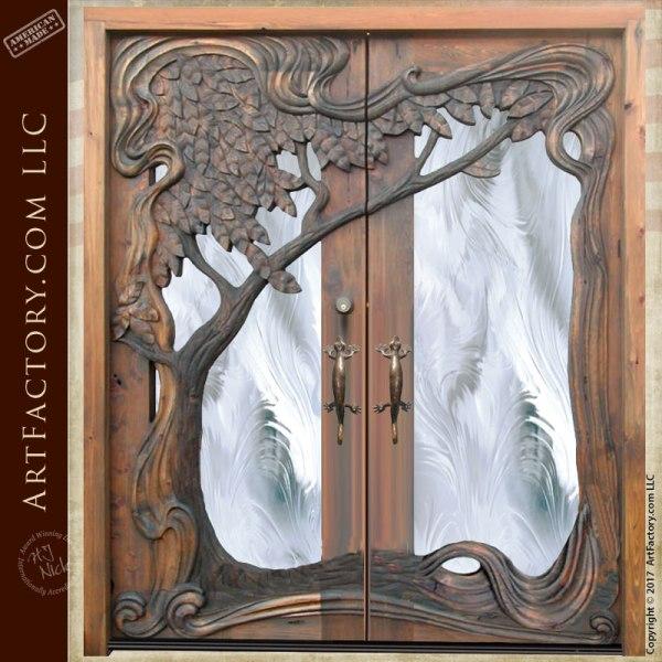 Art Nouveau style hand carved door