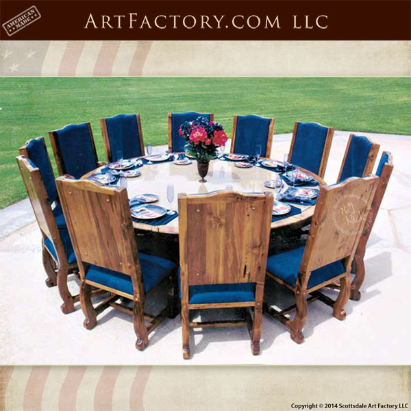 medieval dining room table | Medieval Style Round Dining Table: With Granite Inlaid Top