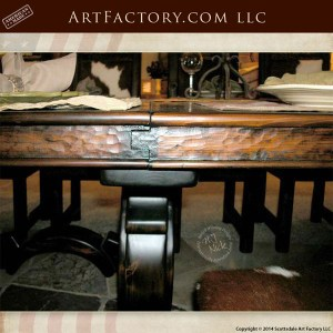 rustic hand carved lodge table