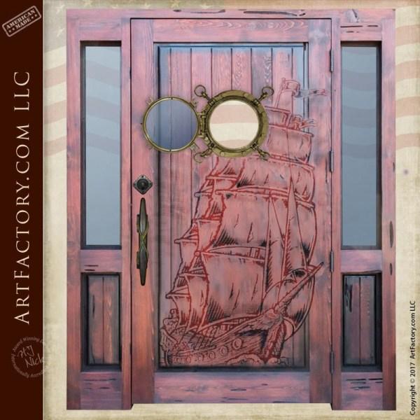 Ghost ship carved door