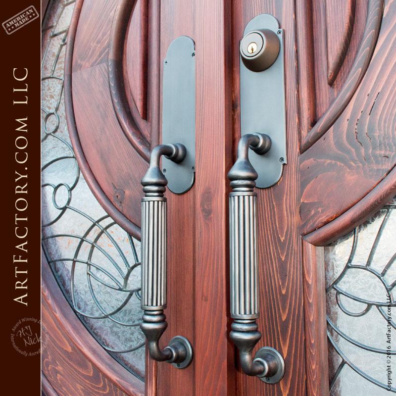 Fluted Iron Door Custom Pulls