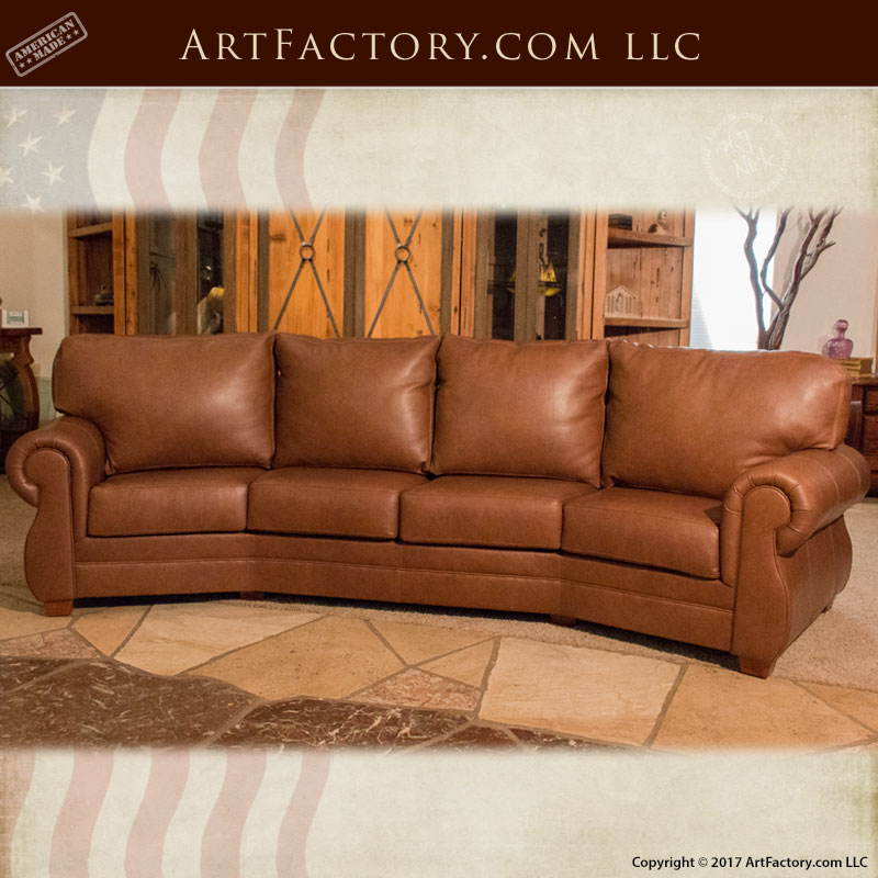 Custom Full Grain Leather Sofa: Roll Arm Style Curved