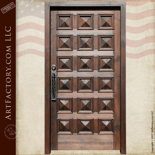 Pyramid Panel Door: Handcrafted Solid Wood Entrance With Speakeasy
