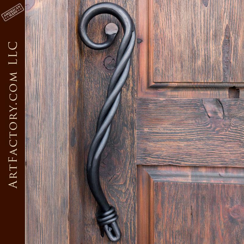 custom door pull, hand forged iron