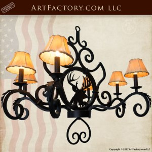 Chandelier Elk Lodge Theme, Hand Forged Custom Lighting