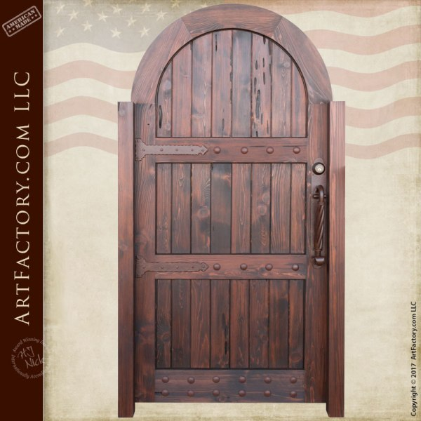 Arched Wooden Garden Gate: Custom Vertical Groove Design
