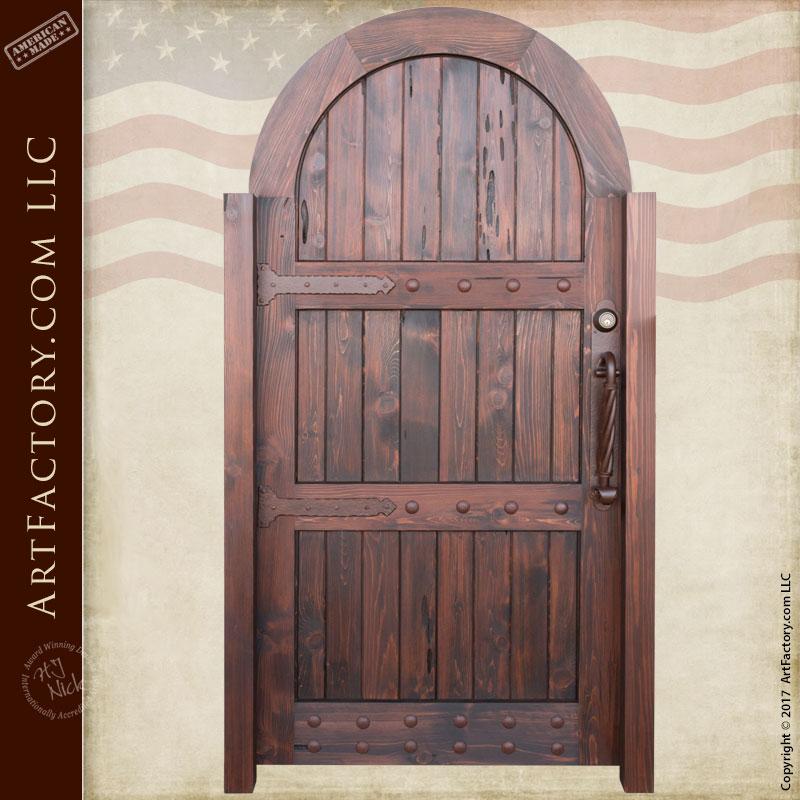 Arched Wooden Garden Gate: Custom Vertical Groove Design U2013 GG334
