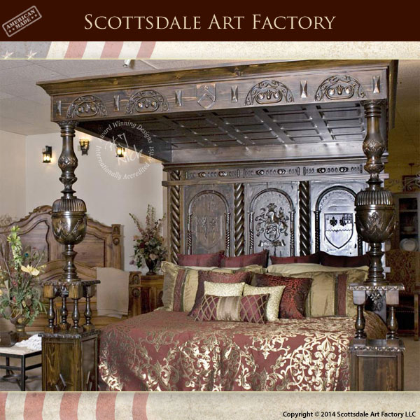 Previous & Medieval Carved Canopy Beds: Hand Carved Poster Bed