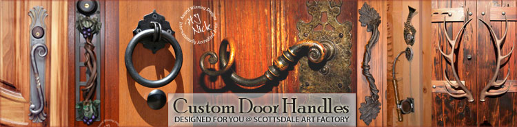 themed iron door pulls