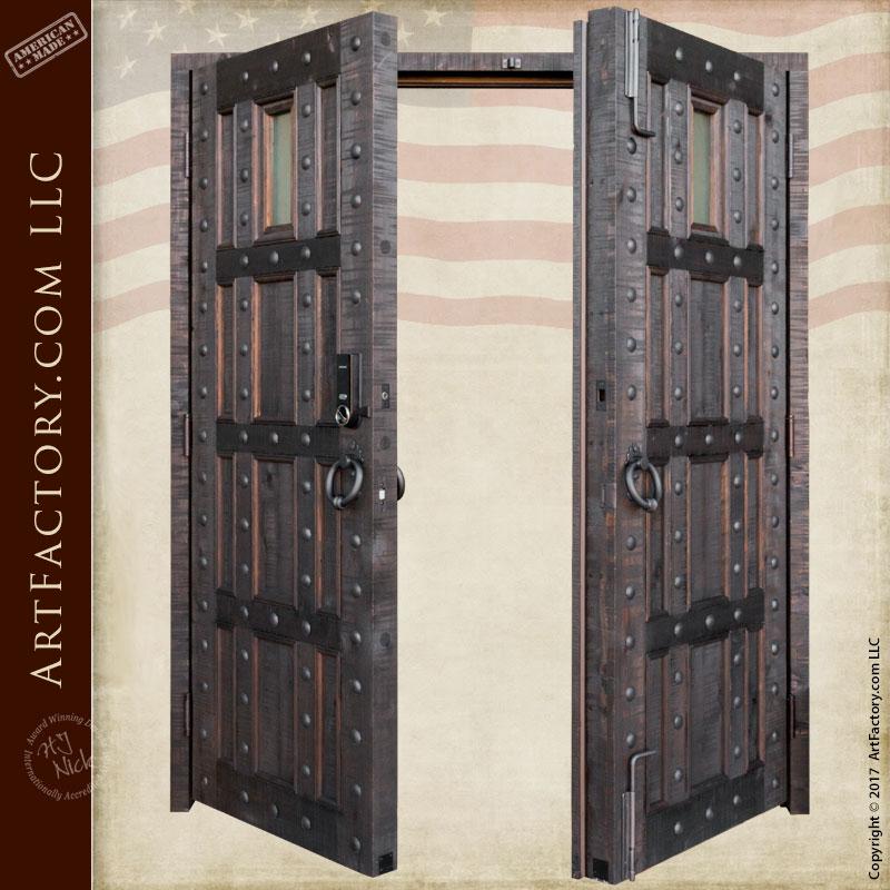 Castle Style Entrance Double Doors Custom Wrought Iron