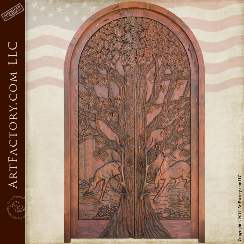 Lodge Grand Entrance Doors: Fine Art Hand Carved Nature Theme