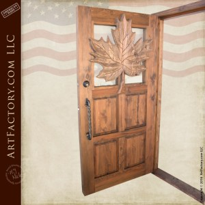 Carved Maple Leaf Theme Wood Door Custom Solid Wood Front Doors