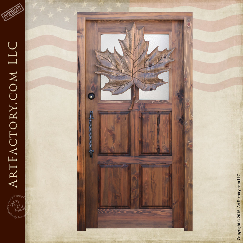 Carved Maple Leaf Theme Wood Door Custom Solid Wood Front Doors
