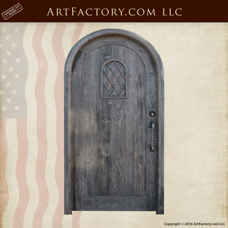 Wooden Arched Custom Entrance Door | Wrought Iron Speakeasy Grill \u2013 1400SED & Custom Wood Doors: Hand Hewn Mortise And Tennon Joined