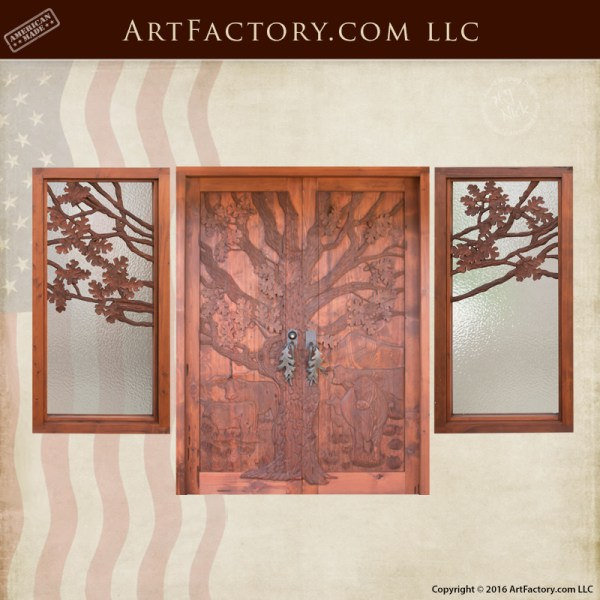 Rustic Hand Carved Door Nature Theme Log Cabin Doors