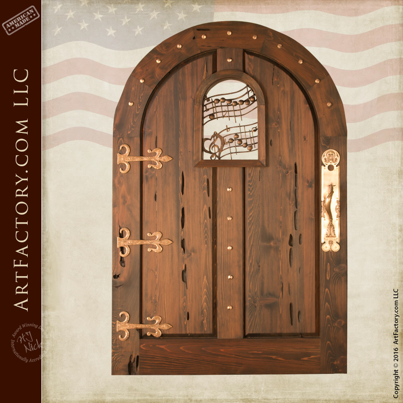 Music Themed Custom Gate Solid Wood Fortress Style Entry Gate \u2013 MG9998 & Solid Wood Gates: With Hand Forged Wrought Iron Hardware