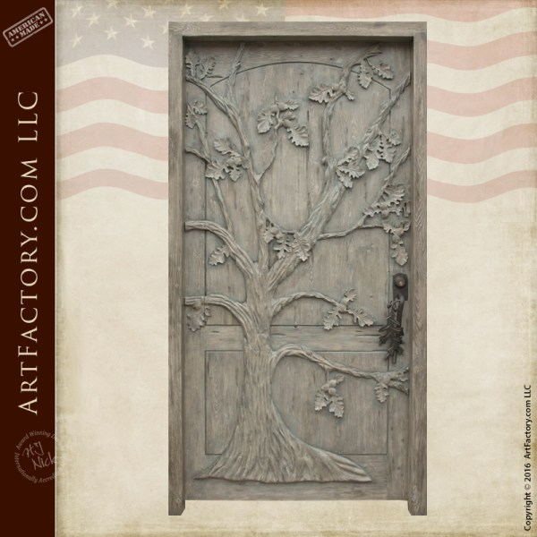 Oak Tree Theme Custom Door Hand Carved Solid Wood Doors