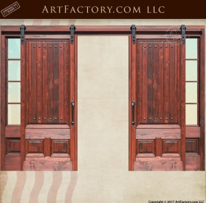 Custom Sliding Wood Doors With Glass Sidelights