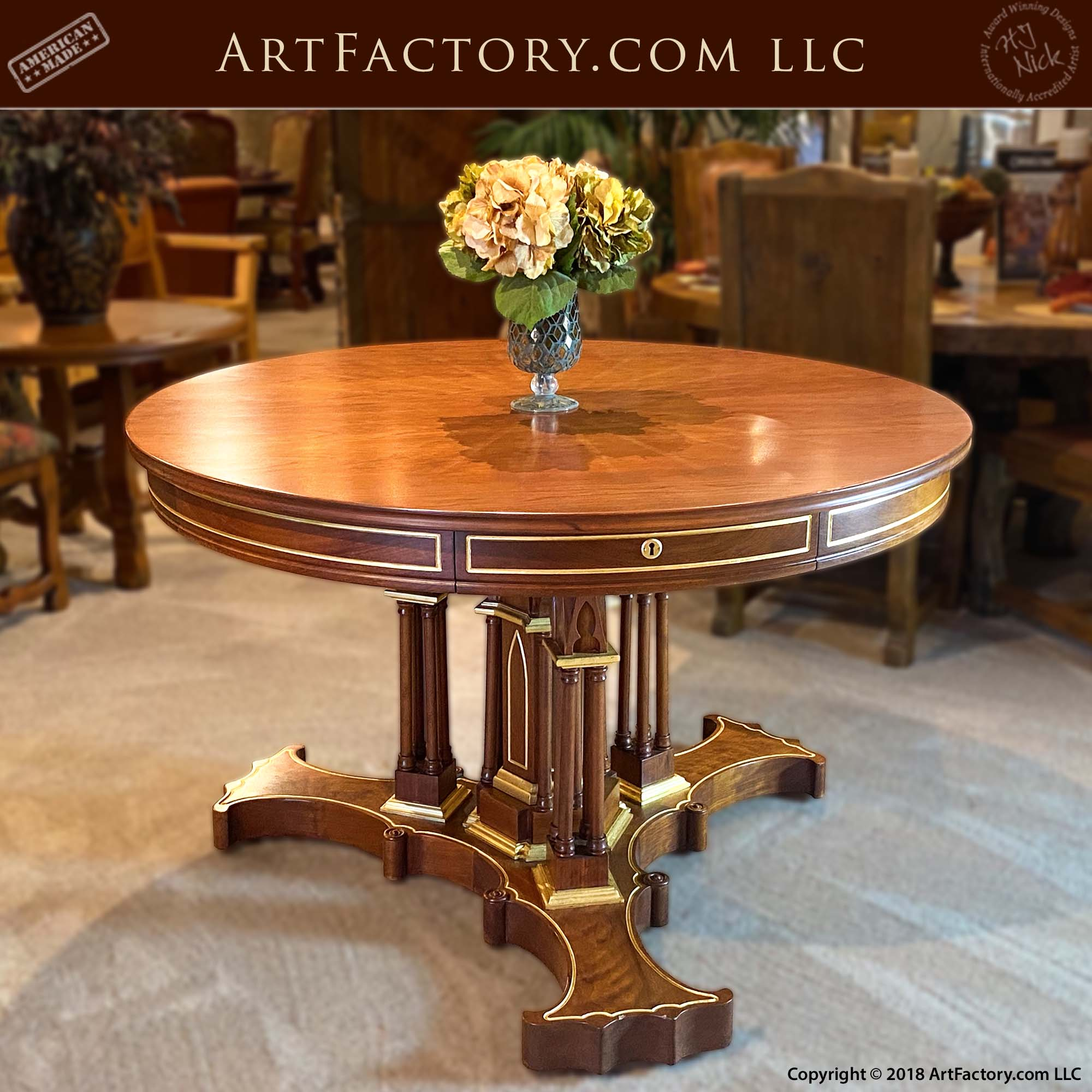 Cherry Wood Foyer Table: Solid Wood, 24KT Gold Leaf Gilded