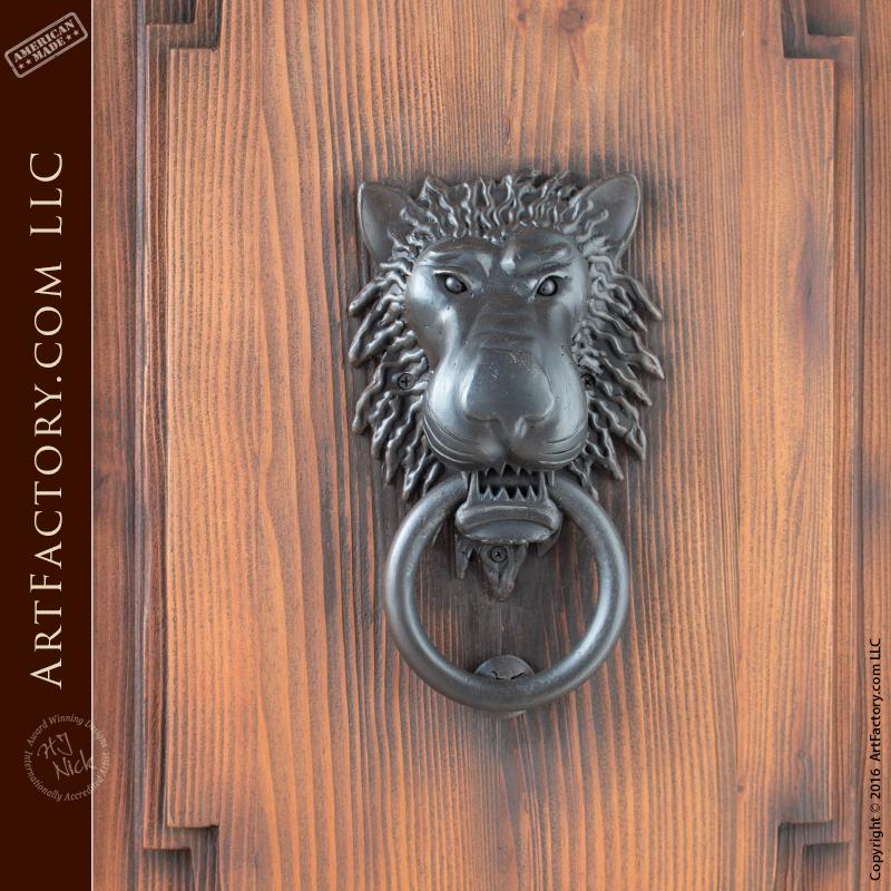 ... Castle Style Double Doors With Lion Head Iron Door Knocker