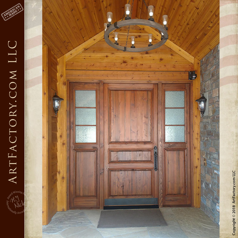 custom 3 panel front door installed exterior