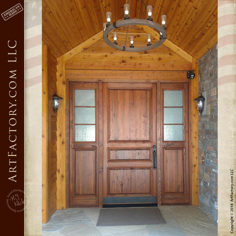 custom 3 panel front door installed exterior