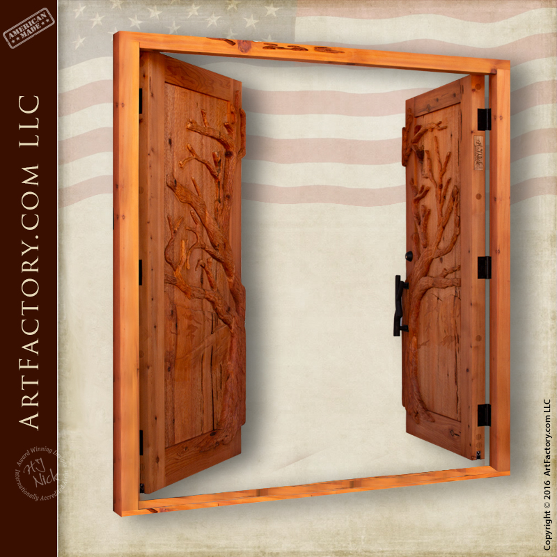 oak tree carved double doors
