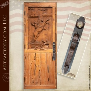 cowboy hand carved door