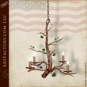 Custom Iron Tree Limb Chandelier