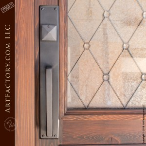 semi-arched leaded glass panel door