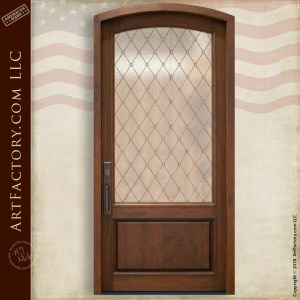 Semi-Arch Leaded Glass Panel Door