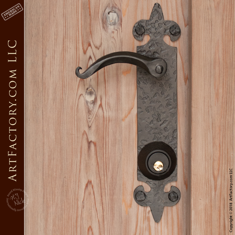 Medieval Lever Style Handles: Hand Hammered With Matching Backplates U2013  HH0003