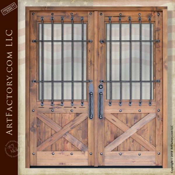 Custom Crossbuck Double Doors Solid Wood Hand Forged Iron Grills