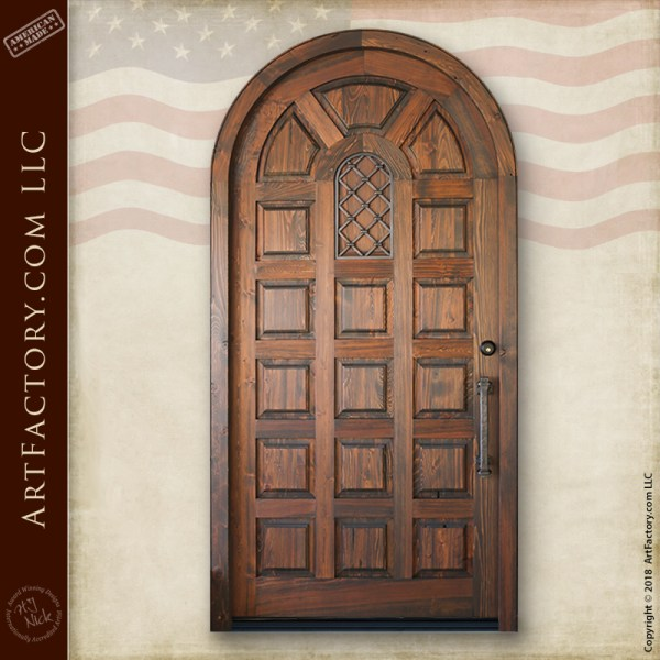 arched multi-panel wood door