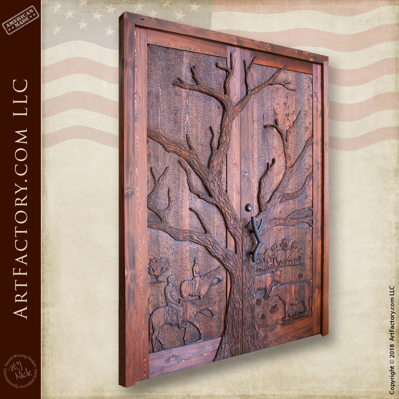 Custom Hand Carved Western Themed Door