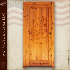 Pelican Carved Front Door