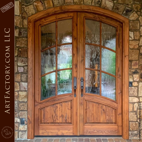 Art Nouveau Custom Doors: Semi-Arched Design, French Paned Windows