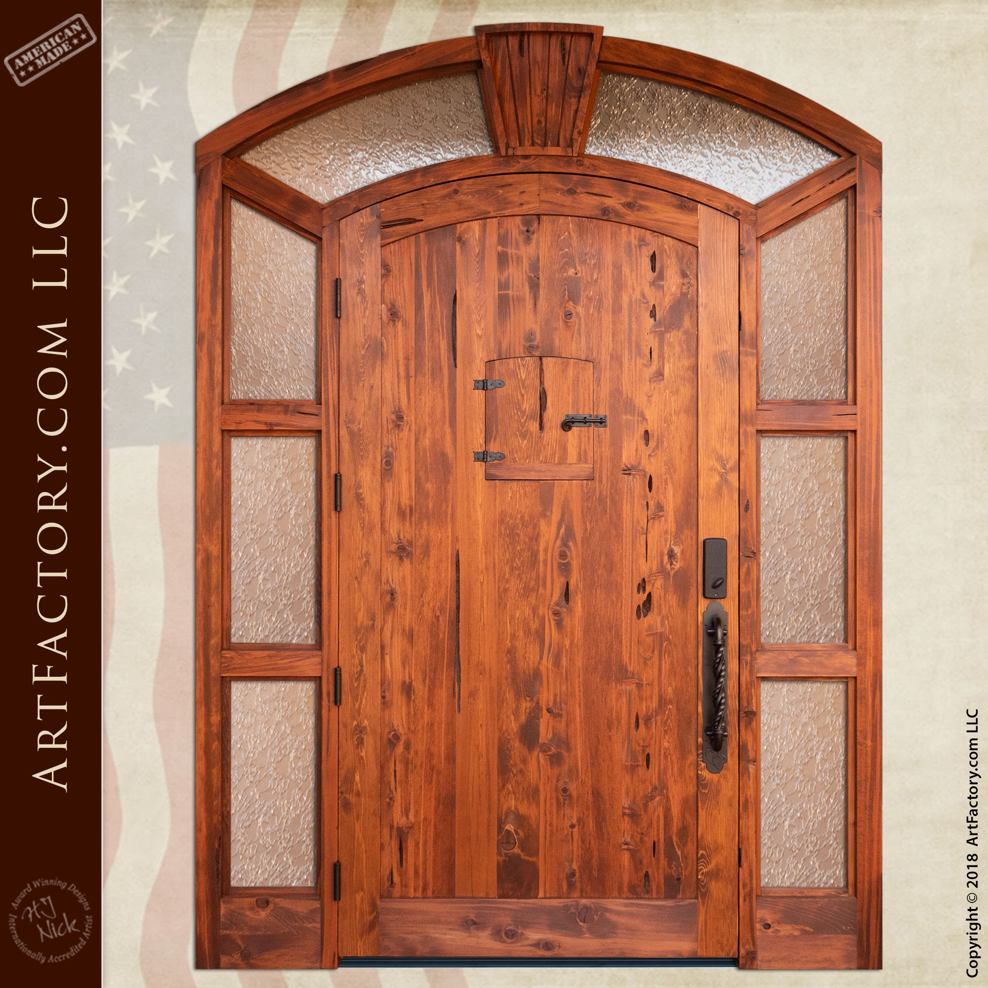 Embracing Couple Carved Front Door