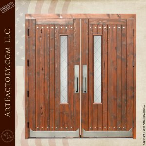 Solid Wood Double Church Doors with Leaded Glass