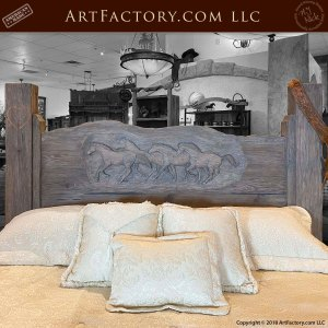 Hand Carved Western Themed Tribute Bed and Nightstand
