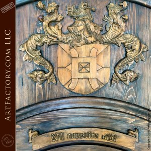 English Crest Custom Door: World Class Fine Art Master Wood Carvings