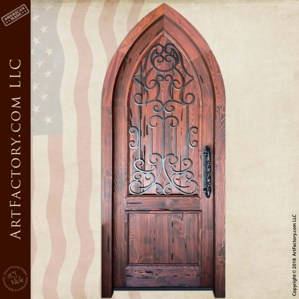 Solid Wood Cathedral Arch Door with Hand-Forged Iron Grill