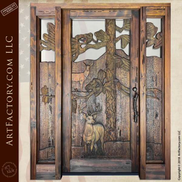 Forest Deer Carved Door