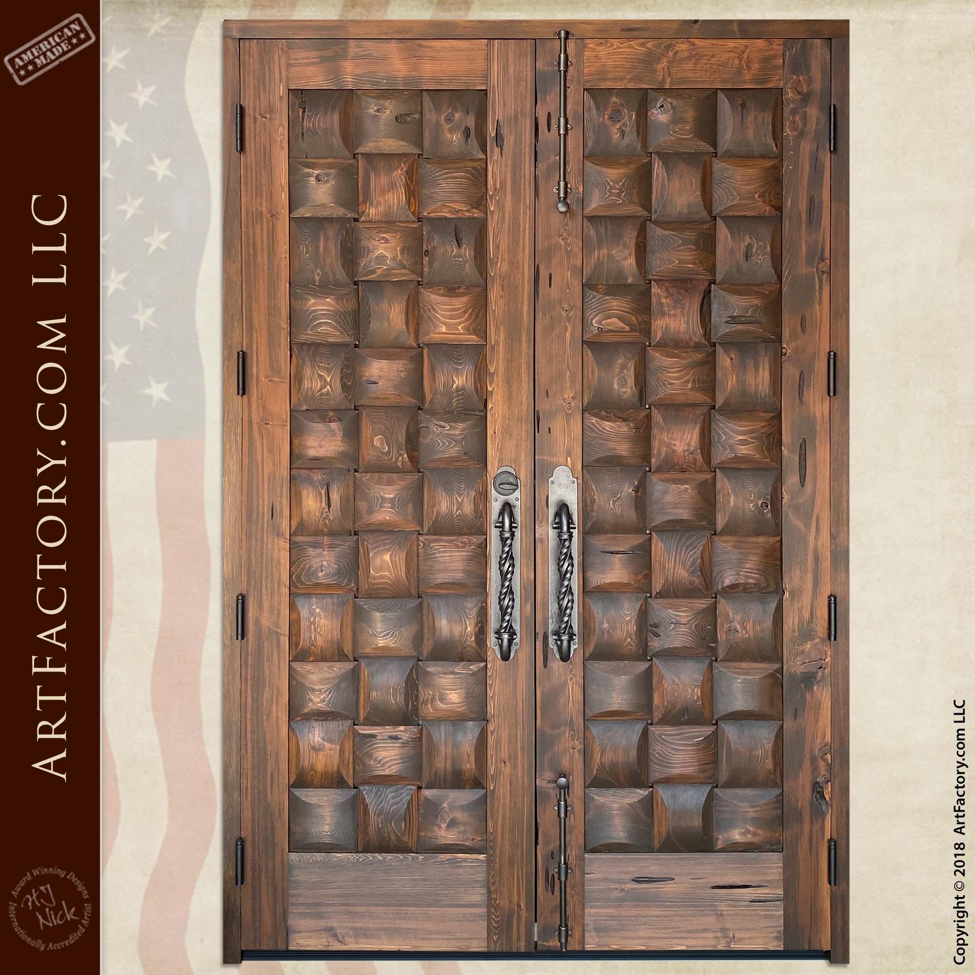 Rustic Basket Weave Double Doors back