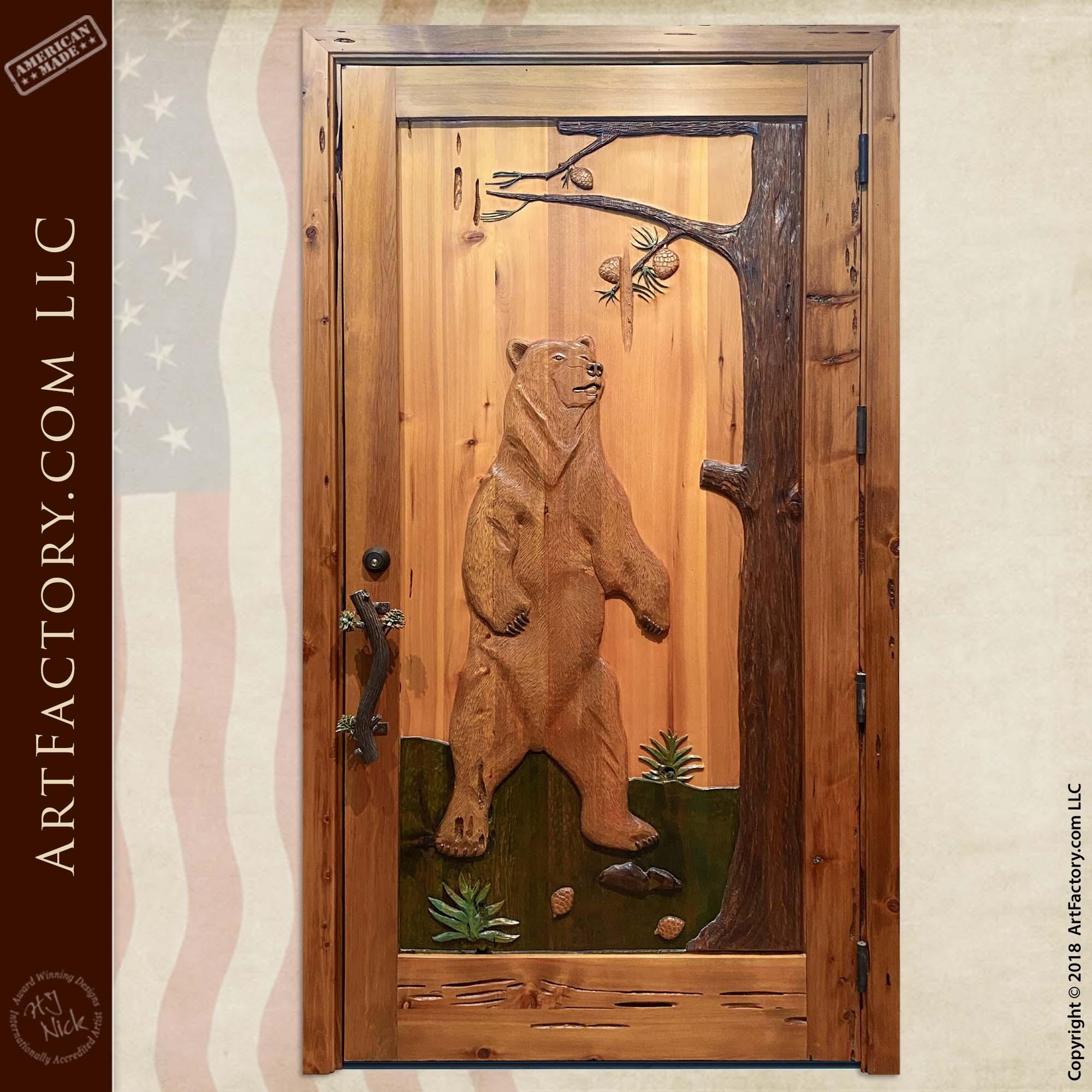 Hand-Carved Standing Bear Solid Wood Door