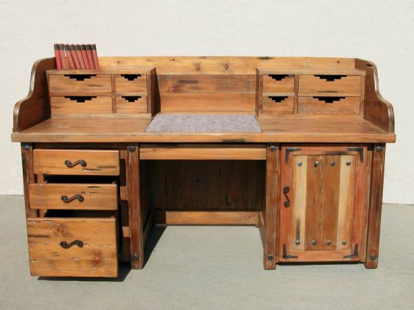 Custom Hand Carved Desk - Rustic Gamble House Design - CBD610