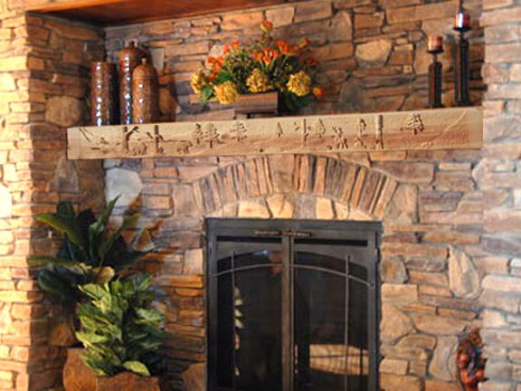 Lodge Mantel  - Hand Carved Fine Art - MLFM567C